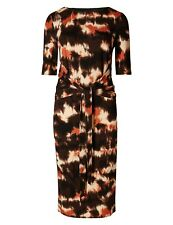 Marks & Spencer Collection Brown, Cream & Black Print Stretchy Shift Dress Wide
