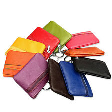 Portable Luxury Leather Small Zip Coin Purse Key Ring Wallet Pouch Purse Bag 1Pc