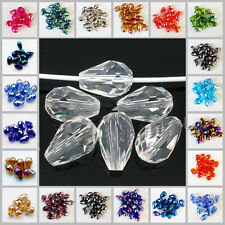 Lots Glass Crystal DIY Charms Loose Spacer Beads Faceted Teardrop DIY Accessory