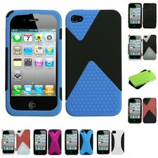 For Apple iPhone 4/4S Hybrid Rugged Impact Hard Soft Case Phone Cover
