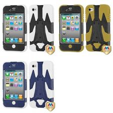 For Apple iPhone 4/4S Cyborg Hybrid IMPACT Cover TUFF Shell Phone Case