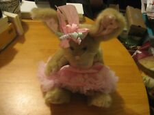 """Adorable The Bearington Collection Rabbit In A Pink Dress Plush 11"""""""
