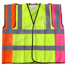 HI VIZ VIS KIDS PLAIN VEST, YELLOW, PINK, ORANGE, WAISTCOAT JACKET CHILD