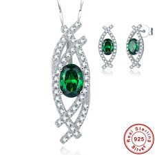 Free Chain & Box Emerald Earrings +Pendant 100% 925 Sterling Silver Jewelry Sets