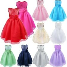 Flower Girl Kids Formal Wedding Bridesmaid Party Princess Sequins Dress SZ 2-14Y