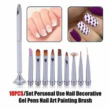 10PCS/Set Personal Use Nail Decorative Gel Pens Nail Art Painting Brush EA