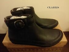 CLARKS **African Scent Black Leather** Women's  Ankle Boots UK 4 / EU 37 RRP £70