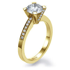 Round 0.97 CT Natural Diamond G VS1 14K Yellow Gold Solitaire Engagement Ring
