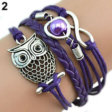 Cute Infinity Owl Heart Pearl Leather Charms Multilayer Bracelet Gift Delightful