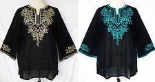 Embroidered Flower Long Sleeve Cotton Pullover Tunic TOP Shirt Sz XL Gypsy BOHO