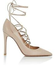 Valentino Rockstud Studded Lace Up Leather Pumps Heels Shoes Nude $995