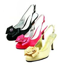 Ladies satin high heel sling back rounded toe evening shoes with beaded flower