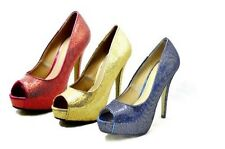 Ladies sparkly peep toe platform high heel party shoes