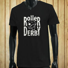 ROLLER DERBY HELMET CONTACT SPORT SKATING ROLLER Mens Black V-Neck T-Shirt