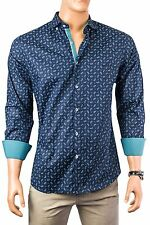 Navy shirt with small teal paisley pattern and white piping from Spazio Uomo