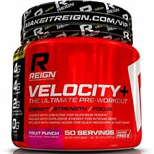 Reign Velocity+ Pre Workout Powder w/ Creatine - 50 Fruit Punch Servings - In...
