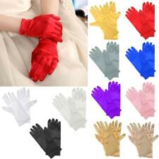 Women's Short Wrist Gloves Smooth Satin for Party Dress Prom Evening Wedding