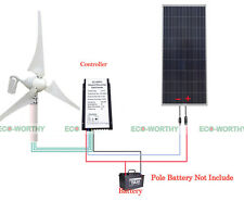 400W Wind Hybrid Turbine Generator & 160W Solar Panel Mono/Poly for Home System