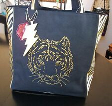 BETSEYVILLE by Betsey Johnson Black Glitzy Tiger Tote Shoulder Bag Purse