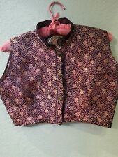 Vintage 1950-60's East  Indian Wine Colored Silk Women's Vest;  Sz S