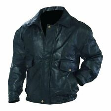 Mens Roman Rock Jacket Fully Lined Closures Wrists Snaps Genuine Leather Black
