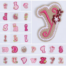 Floral Embroidered Applique Iron Sew On Patch Accessory Letter A-Z Number 0-9