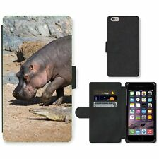 Phone Card Slot PU Leather Wallet Case For Apple iPhone Hippo and crocodile neig