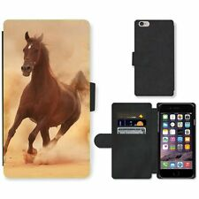 Phone Card Slot PU Leather Wallet Case For Apple iPhone Arabian horse in sandy d