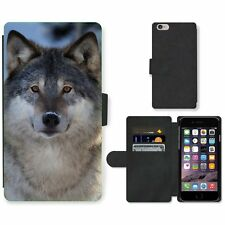 Phone Card Slot PU Leather Wallet Case For Apple iPhone Wolf saw the photographe