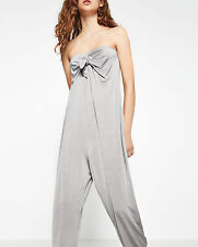 ZARA Silver Metallic Flowing Jumpsuit Dress With Bow Strapless Party S Small NWT