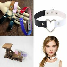 Favorite Punk Goth Funky Rivet Collar Choker Necklace Heart Leather