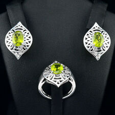 GENUINE! NATURAL 6 Cts GREEN PERIDOT OVAL FACET GEMSTONE STERLING 925 SILVER SET