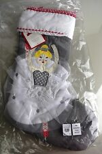 NEW POTTERY BARN Kids QUILTED Blonde BALLERINA GRAY Christmas Stocking Winter