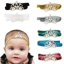 Infant Baby Girls Toddler Crystal Pearl Crown Headband Elastic Gillter Hair Accs