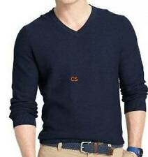 NWT $55-Mens Izod Navy Blue Ribbed V-neck Long Sleeve Sweater-size M & XL