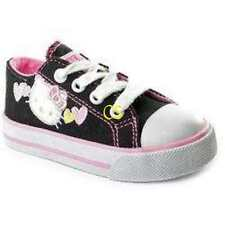 NWT $50-Girls Sanrio Hello Kitty Black & White Canvas Sneakers Shoes-sz 10