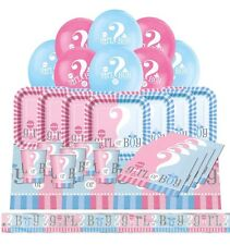 GENDER REVEAL Baby Shower PARTY PACK Girl Boy Unisex Plates Cups Napkins Banner