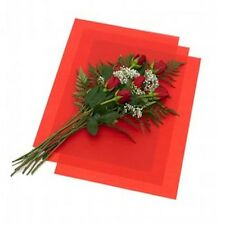 "RED FLORAL WAXED Tissue Paper Bouquet Wrapping 18""x24"" Large Sheets"