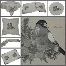 Grey Table Cloth/Runner Doily Cushion Cover Linen-look Winter Bird Embroidery