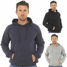New Mens Hoodie Sweatshirt Plain Cotton Hoody Track Top Blue Grey Black- M L XL