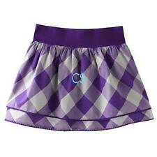 NWT-Girls Chaps Purple Checkered Double Layered Tiered Summer Skirt size 10 & 12