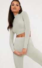 Prettylittlething Womens Rio Sage Green Slinky High Neck Long  Sleeve Crop Top