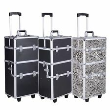 Pro 3 in1 Aluminum Rolling Makeup Cosmetic Box Train Case Wheeled Box 3 Color HQ