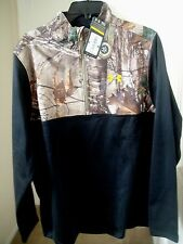 NEW UNDER ARMOUR MENS LARGE BLACK REALTREE CAMO COLDGEAR CALIBER 1/4 ZIP 1259217