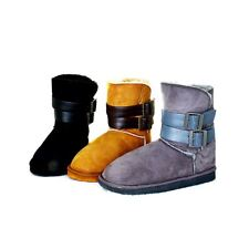 Ladies Suedette flat fur lined Snugg boots with buckle straps