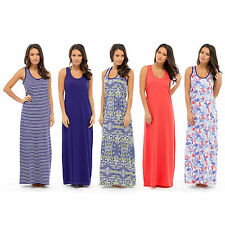 Ladies Maxi Dresses Womens Beach Summer Holiday Girls Plain Long Maxi Dress New