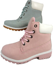 GIRLS WOMENS DM STYLE HIKING FASHION ANKLE BOOTS PALE PINK BLUE