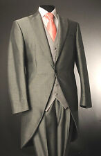 MJ-203 MEN'S SILVER MOHAIR TWO PIECE FORMAL TAILS SUIT ASCOT/WEDDING/TAILCOAT