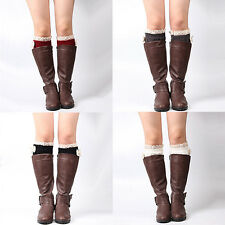 Women's Fashion Bowknot Lace Trim Knitted Leg Warmer Boot Cuffs Toppers Peachy