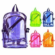 Girl Boy Women Clear Transparent Backpack PVC Plastic School Book Bag ALL COLOR